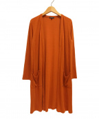 INDIVI(インディビ)の古着「21SSコットンヨーリューカーディガン ロング」 オレンジ