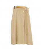 M-PREMIER(エムプルミエ)の古着「ワンサイドタックベルトスカート」 ベージュ