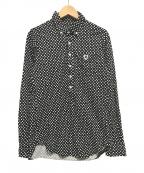 PEARLY GATES(パーリーゲイツ)の古着「ツイル風鹿の子ドット柄長袖ポロシャツ」|ブラック×ホワイト
