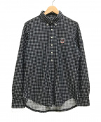 PEARLY GATES(パーリーゲイツ)の古着「鹿の子ウィンドペンプリント長袖ポロシャツ」|ネイビー