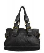 Vivienne Westwood(ヴィヴィアンウエストウッド)の古着「ロゴレザーハンドバッグ」|ブラック