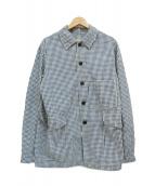 F.O.B FACTORY(エフオービー ファクトリー)の古着「ギンガムチェックレイルロードジャケット」 ブルー