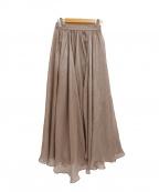 Lily Brown(リリーブラウン)の古着「20AW/光沢シアーロングスカート」 ベージュ