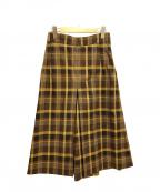 HUMAN WOMAN(ヒューマンウーマン)の古着「Wクライックチェックスカーチョ スカート」|ブラウン×イエロー