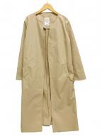 SHENERY(シーナリー)の古着「ノーカラーロングコート ベルト」 ベージュ