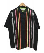()の古着「TAPE STRIPE S/S SHIRTS 半袖 シャツ」 ブラック