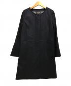 INED(イネド)の古着「カシミヤノーカラーコート」 ネイビー