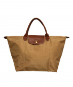 LONGCHAMP()の古着「折り畳みナイロントートバッグ/ハンドバッグ」|ベージュ
