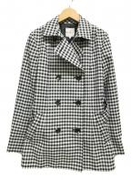 KUMIKYOKU(クミキョク)の古着「チェックショートトレンチコート」|ブラック×ホワイト