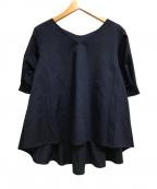 KUMIKYOKU(クミキョク)の古着「リネン混バックタックブラウス」|ネイビー