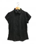 NARA CAMICIE(ナラカミーチェ)の古着「フラワージャガード半袖シャツ」 ブラック