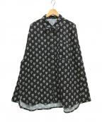 OY(オーワイ)の古着「総柄長袖ロゴシャツ」|ブラック