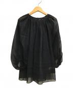 TOMORROW LAND collection(トゥモローランドコレクション)の古着「20SSコットンオーガンジーパフスリーブブラウス」|ブラック