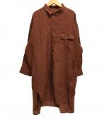 BARNYARDSTORM(バンヤードストーム)の古着「長袖リネンロングシャツ」|ブラウン