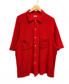 kaiko(カイコー)の古着「パイル地開襟シャツ 半袖」|レッド