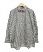 BARBA(バルバ)の古着「長袖ストライプワイドシャツ」|ホワイト×グレー