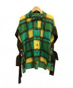 Lois CRAYON(ロイスクレヨン)の古着「チェックシャツブラウス」|グリーン×イエロー