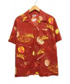 ()の古着「総柄開襟シャツ」 レッド