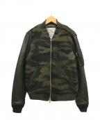 ALPHA()の古着「袖レザー切替MA-1ジャケット/ブルゾン」|カーキ×ブラック