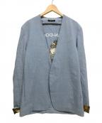 CHRISTIAN DADA(クリスチャンダダ)の古着「OIRAN-DOCHU刺繍ノーカラージャケット」 ブルー