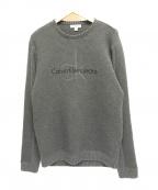 Calvin Klein Jeans(カルバンクラインジーンズ)の古着「切替立体ロゴスウェット」 グレー