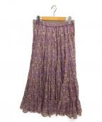 ISABEL MARANT ETOILE(イザベルマランエトワール)の古着「フラワープリントティアードスカート」|パープル