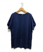 ATON(エイトン)の古着「キャップスリーブTシャツ」 ネイビー