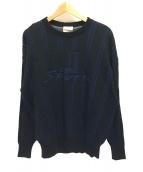 ()の古着「長袖ロゴウールニット」 ブラック×ブルー