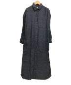 finamore(フィナモレ)の古着「長袖リネンシャツワンピース 定番」 ネイビー