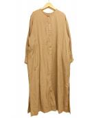 ()の古着「リヨセルツイルクルーネックロングワンピース」|ベージュ