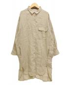 ()の古着「長袖リネンロングシャツ」|ベージュ
