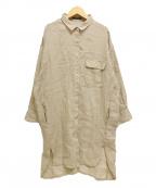 BARNYARDSTORM(バンヤードストーム)の古着「長袖リネンロングシャツ」|ベージュ