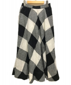 ()の古着「チェックサーキュラースカート」|ホワイト×ブラック