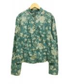 ()の古着「マオカラーフラワープリントシャツ」|ブルー