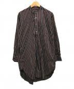 Engineered Garments(エンジニアドガーメンツ)の古着「バンドカラーロングプルオーバーシャツ」|ネイビー×レッド