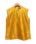 ()の古着「マオカラーシルクノースリーブシャツ」 イエロー