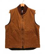 CarHartt(カーハート)の古着「ダック地ワークベスト 中綿」|ブラウン