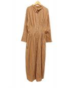 ()の古着「ストライプシャツドレス シャツ ワンピース」 ベージュ