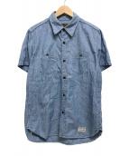 ()の古着「半袖シャンブレーシャツ/バックプリント」 ブルー