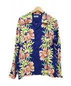 ()の古着「長袖アロハシャツ/ISLAND FLOWER SHOWER」 ブルー