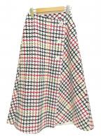 SHE TOKYO(シートーキョー)の古着「千鳥柄巻きフレアスカート」|ホワイト
