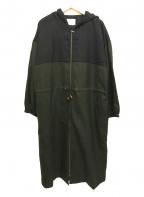 Lourmarin(ルールマラン)の古着「フロントジップフード付羽織ウールワンピース」|グリーン