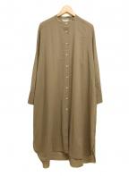 Demi-Luxe Beams(デミルクス ビームス)の古着「スラブボイルワンピース シャツ バンドカラー」 ベージュ