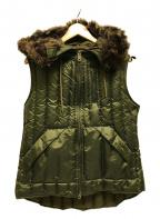 RALPH LAUREN(ラルフローレン)の古着「フード付ダウンベスト ダブルジップ」|オリーブ