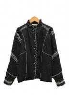 ISABEL MARANT ETOILE(イザベルマランエトワール)の古着「フリル襟リネン刺繍長袖シャツ」|ブラック