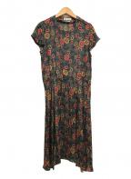 ISABEL MARANT ETOILE(イザベルマランエトワール)の古着「コットンシルク混フラワープリントロングワンピース」|ブラック