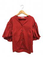 CLANE(クラネ)の古着「STRIPE FLOWER TOPS」|レッド