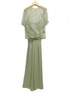 LAGUNA MOON(ラグナムーン)の古着「LADYクロスベアパンツドレス」|グリーン