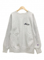 Champion REVERSE WEAVE(チャンピオンリバースウィーブ)の古着「90'S/ロゴスウェット/刺繍タグ」 グレー