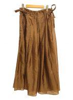 ()の古着「ポリエステルランダムタックスカート」|ブラウン